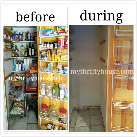 pantry makeover before and during