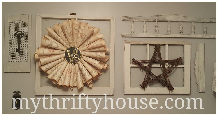 Vintage Book page wreath on gallery wall