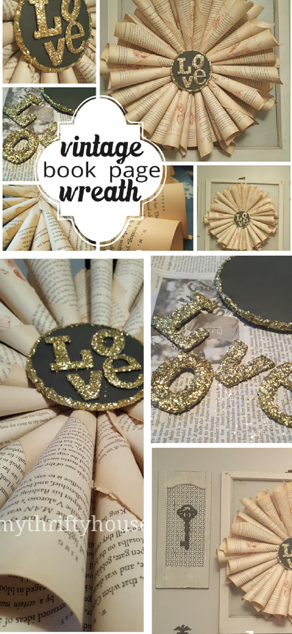 Vintage Book Page Wreath
