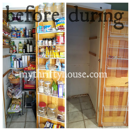 Pantry makeover challenge before and during