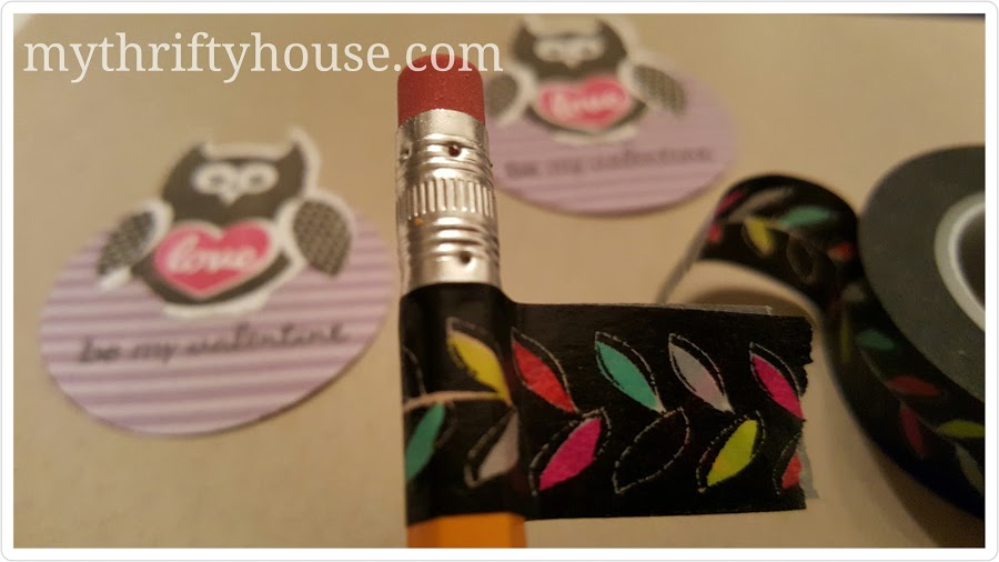 Valentine's Day Pencil Topper Wahsi Tape