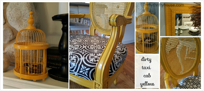 mismatched furniture taxi cab yellow