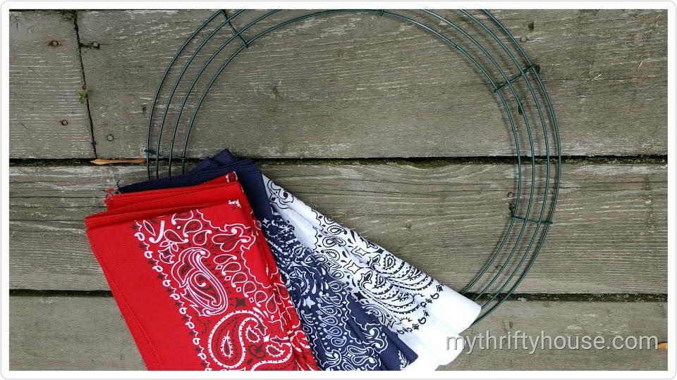 Supplies needed to make a Patriotic Bandana Wreath