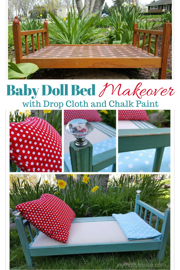Adorable Baby Doll Bed Makeover with Drop Cloth and Chalk Paint