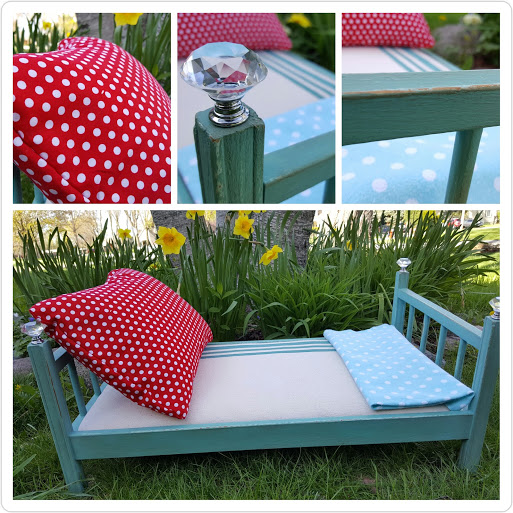 Baby Doll Bed Makeover with Chalk Paint and Drop Cloth Canvas