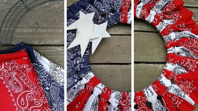 Putting together a Patriotic Bandana Wreath