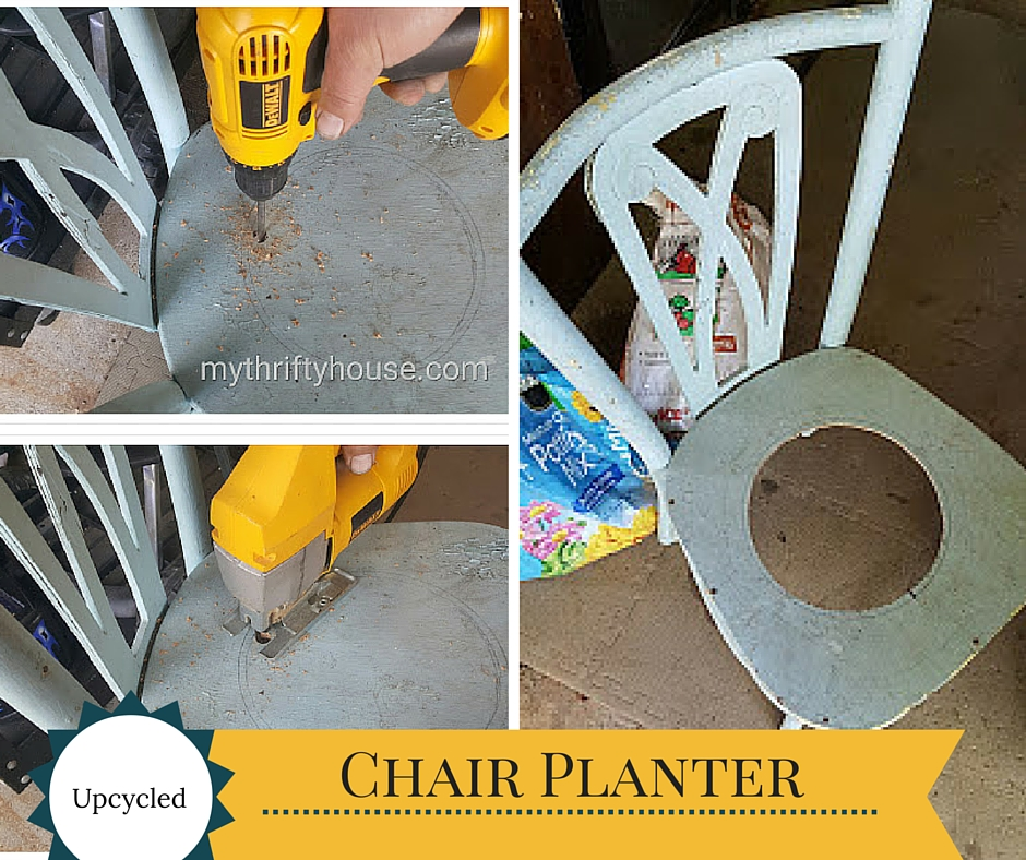 chair planter collage