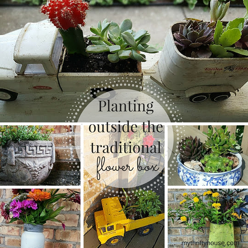 Nontraditional flower planters used around the house.