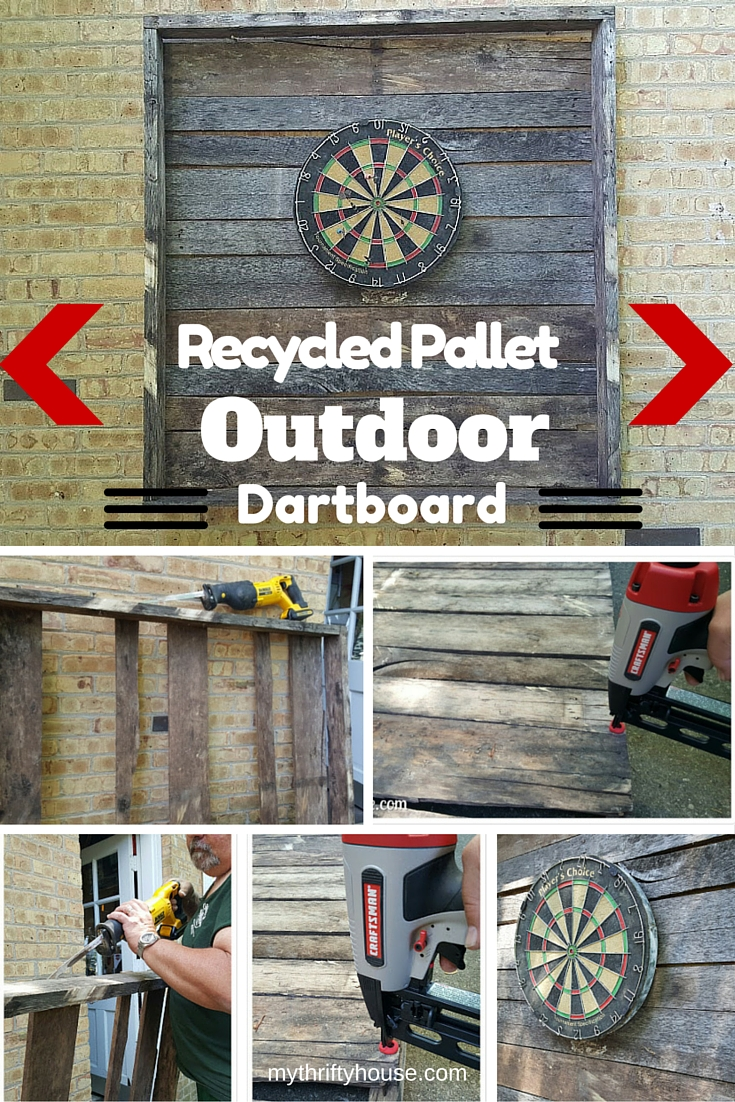 Outdoor dartboard made from recycled pallet wood