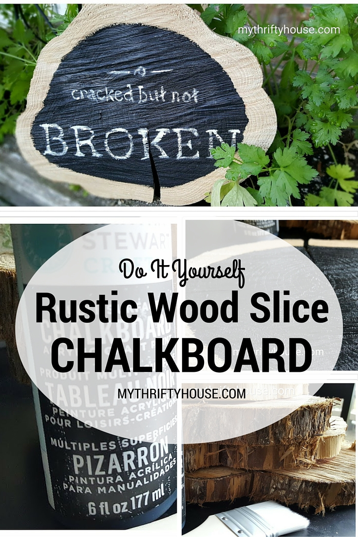 Rustic Wood Slice Chalkboard Collage