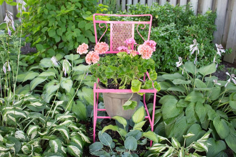 Waste Not Wednesday Week 5 - Kellie's favorite feature - Sustain My Craft Habit's Wildfire Chair Planter