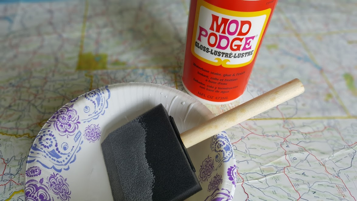 Nautical Mapy Tray Mod Podge