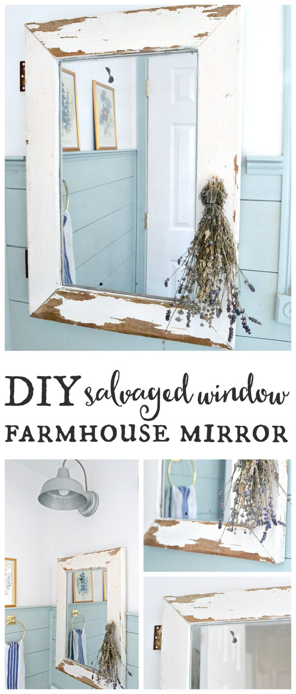 Waste Not Wednesday Week 8 Kellie's Favorite Salvaged Window Farmhouse Mirror by Weathered Fox