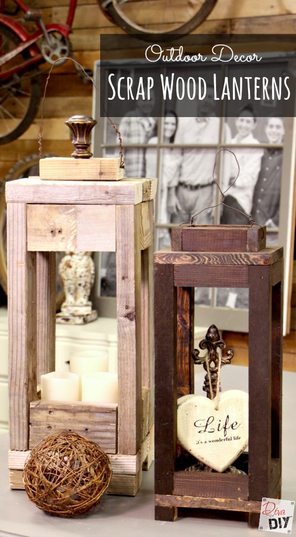 Waste Not Wednesday Week 8 Sam's Favorite Scrap Wood Lanterns by Diva of DIY
