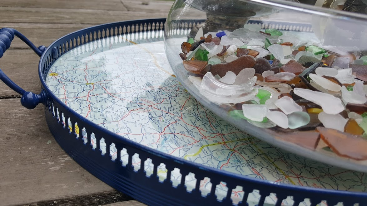 nautical map tray bowl of sea glass
