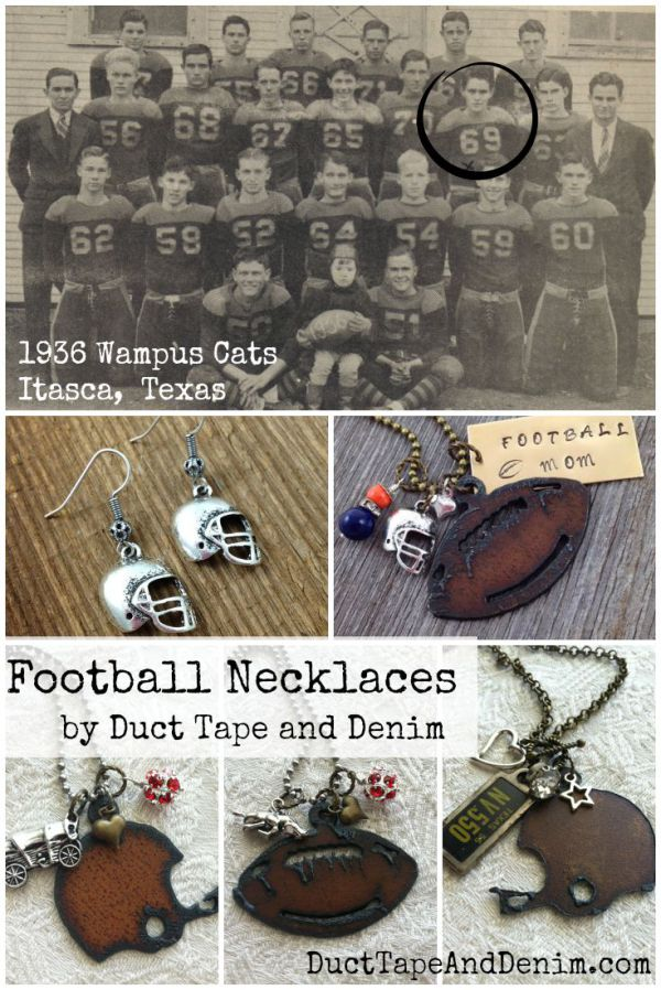 Football necklace made by Anne at Duct Tape and Denim