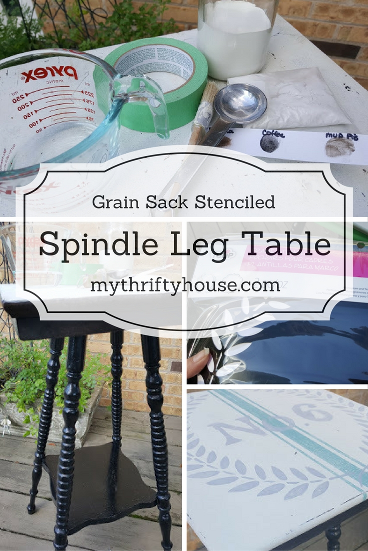 Grain sack stenciled spindle leg table makeover