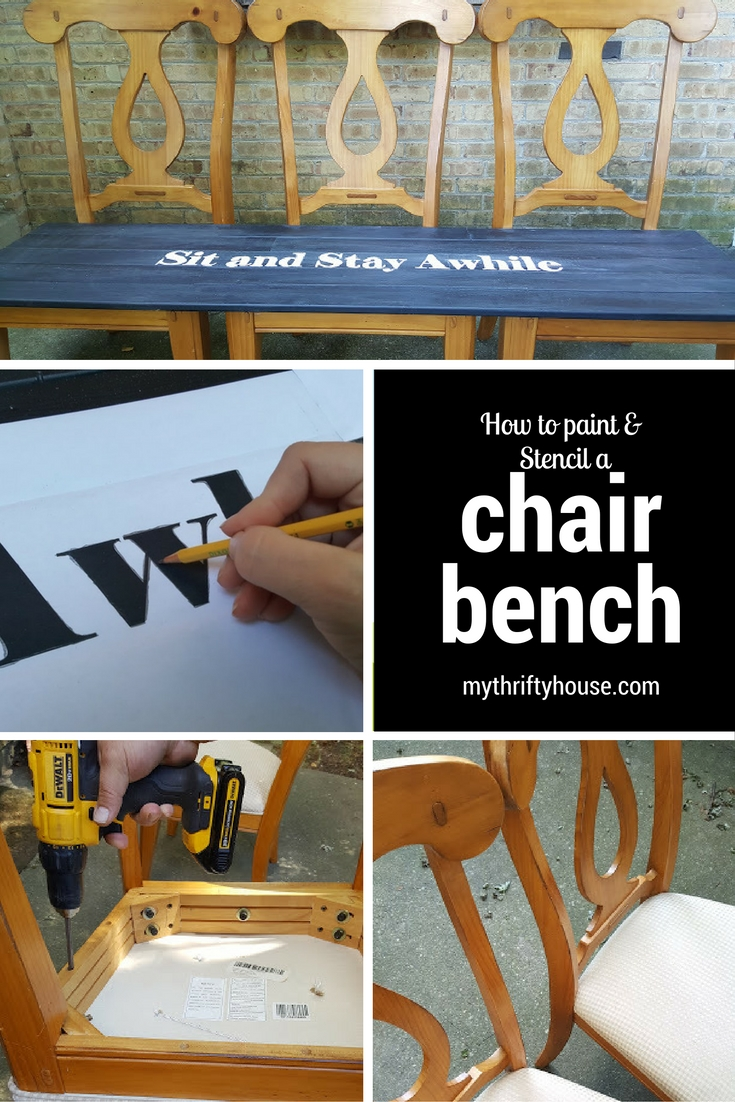 How to paint and stencil a chair bench with scrap wood.