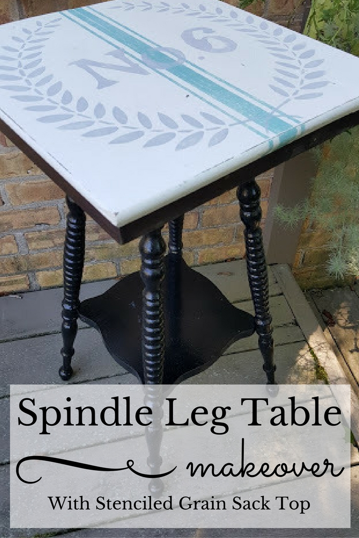Spindle Leg Table makeover with grain sack stenciled top