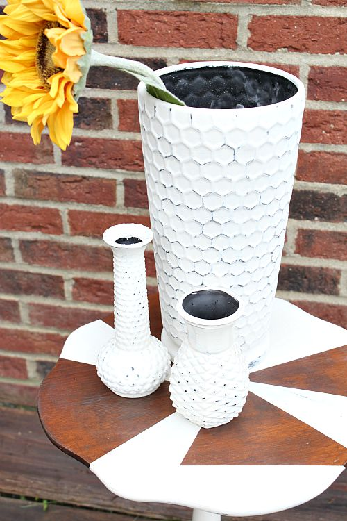 Waste Not Wednesday Week 10 Featured Post, Trash to treasure painted vases submitted by Reinvented