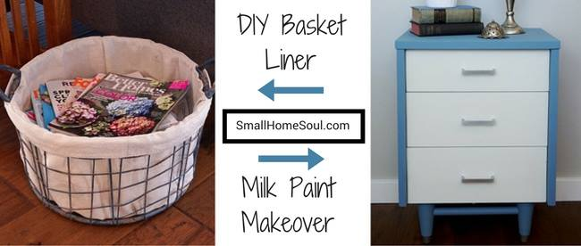 Waste Not Wednesday Week 10 Toni's Drop Cloth Basket Liner and Mid Century Modern Milk Paint Makeover
