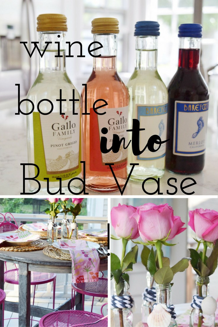 Waste Not Wednesday Week 11, Gratefully Vintage made wine bottles into bud Vases