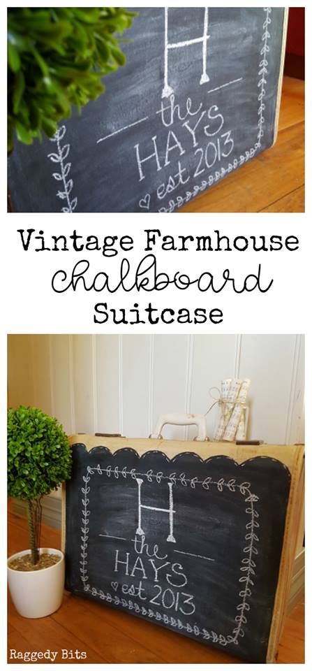 Waste Not Wednesday Week 12, Chalkboard Suitcase from Sam at Raggedy Bits