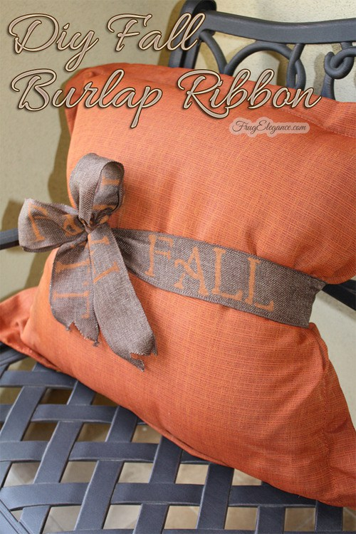 Waste Not wednesday week 13, DIY Fall Burlap Ribbon submitted by FruElegance