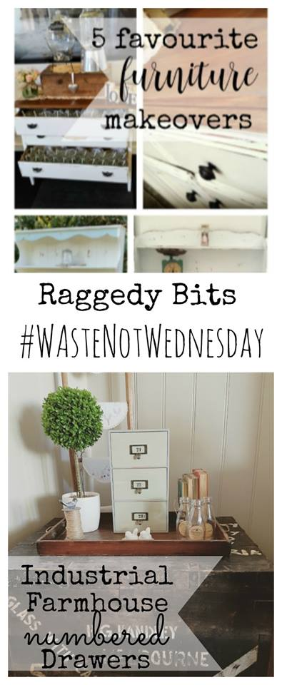 Waste not Wednesday Week 13, 5 Favorite Funiture Makeovers and Industrial Farmhome Numbered Drawers from Sam at Raggedy Bits