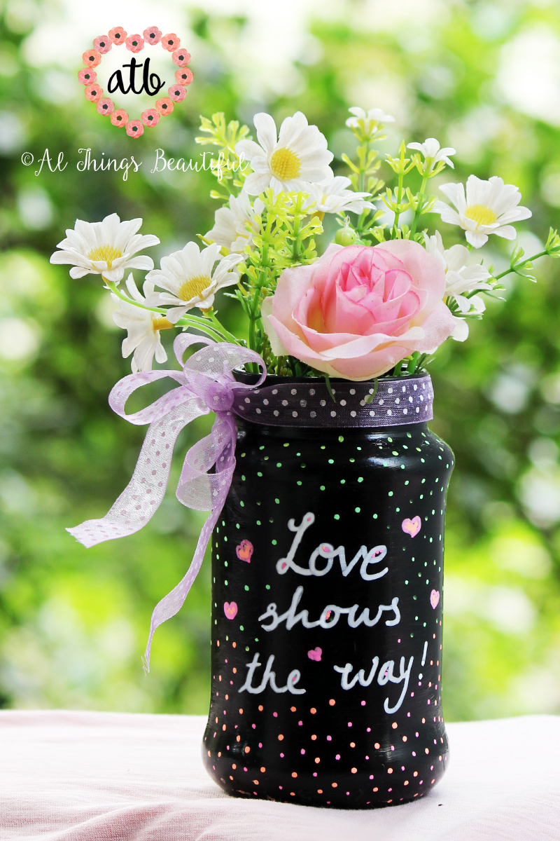 Waste not Wednesday Week 14, Hand painted mason jar submitted by Al Things Beautiful