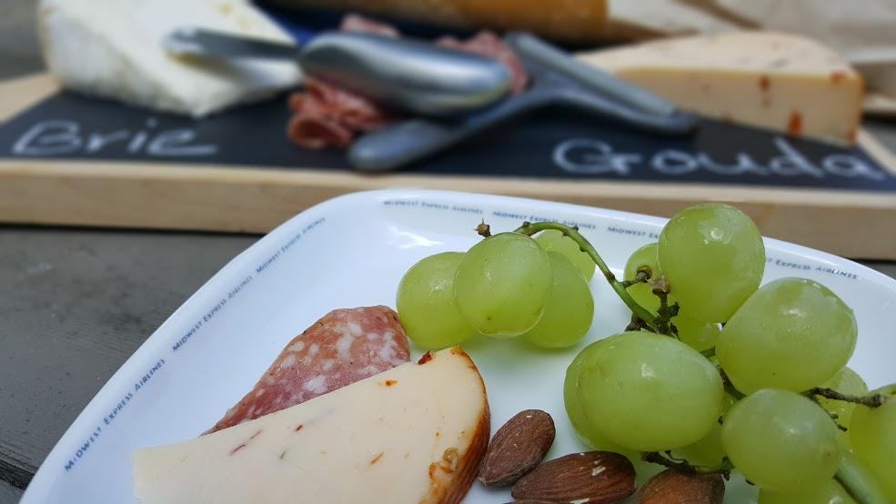 snacks on the chalkboard cheese platter