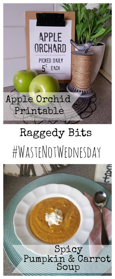 Waste Not Wednesday Week 15, Apple Orchard Printable and Spicy Pumpkin and Carrot Soup from Sam at Raggedy Bits