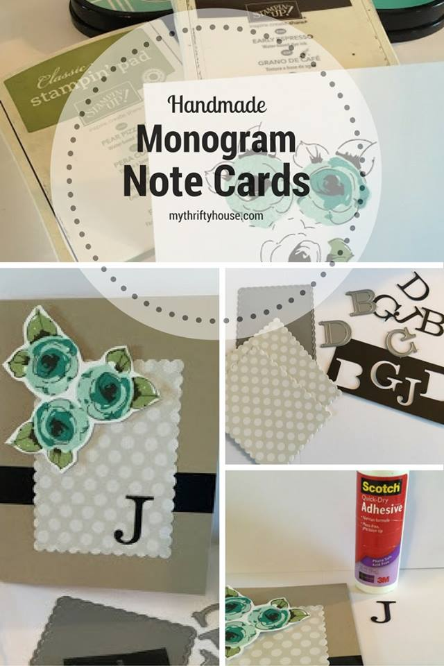 Waste Not Wednesday Week 15, Monogram Note Cards from Denise at My Thrifty House
