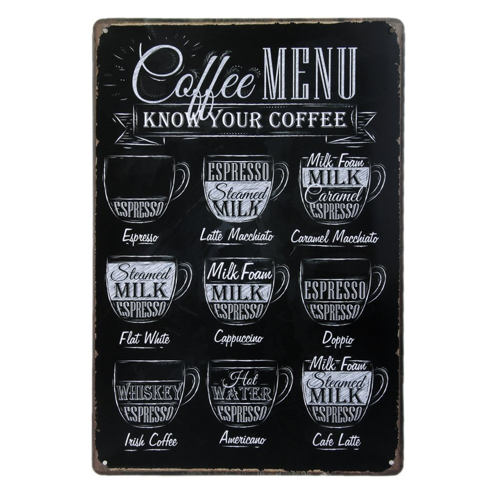 Coffee Lovers Menu Sign