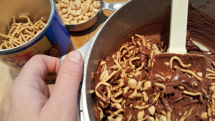 mixing-chow-mein-noodle-cookies-with-ingredients