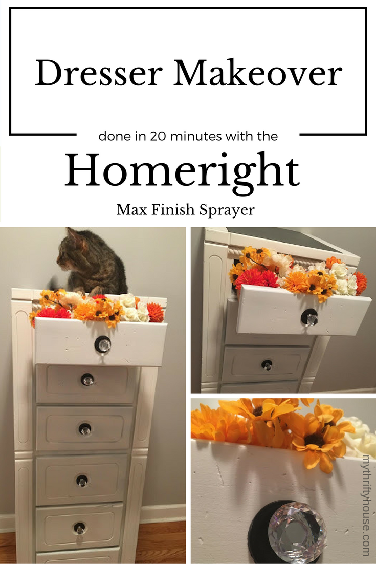 Ugly dresser makeover done within 20 minutes using the Homeright Finish Max Sprayer, large spray shelter and small spray shelter.