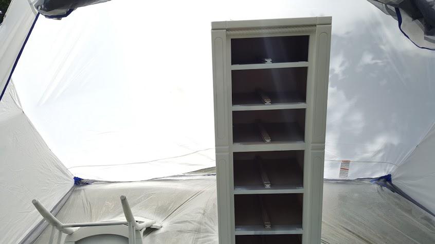 Ugly dresser makeover done inside the Homeright spray shelter