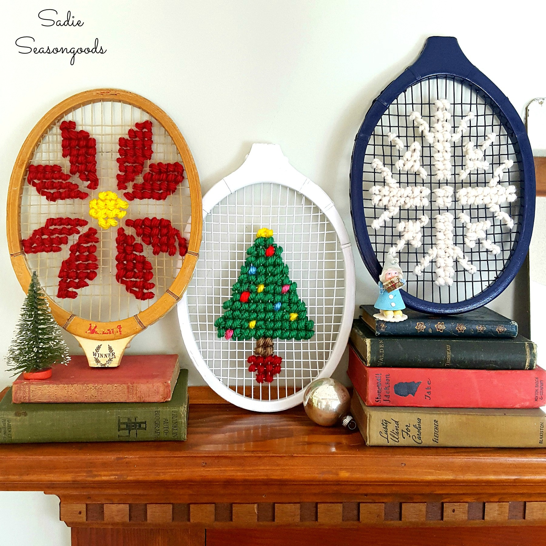 waste-not-wednesday-week-28-oversized_christmas_cross_stitch_on_vintage_wooden_tennis_racket_racquet_by_sadie_seasongoods