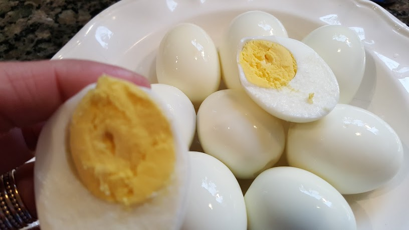 Whole30 Day 8 perfectly peedled hard boiled eggs from the instant pot.