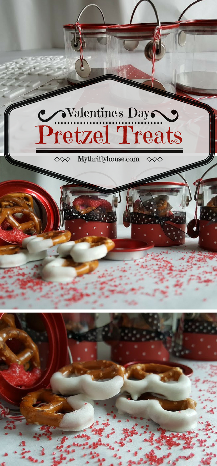 Easy Crafts for Valentine's Day include these mini paint cans filled with chocolate dipped preztel treats