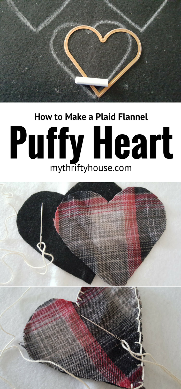 Easy crafts for Valentine's Day includes this puffy heart made from a special plaid flannel shirt.