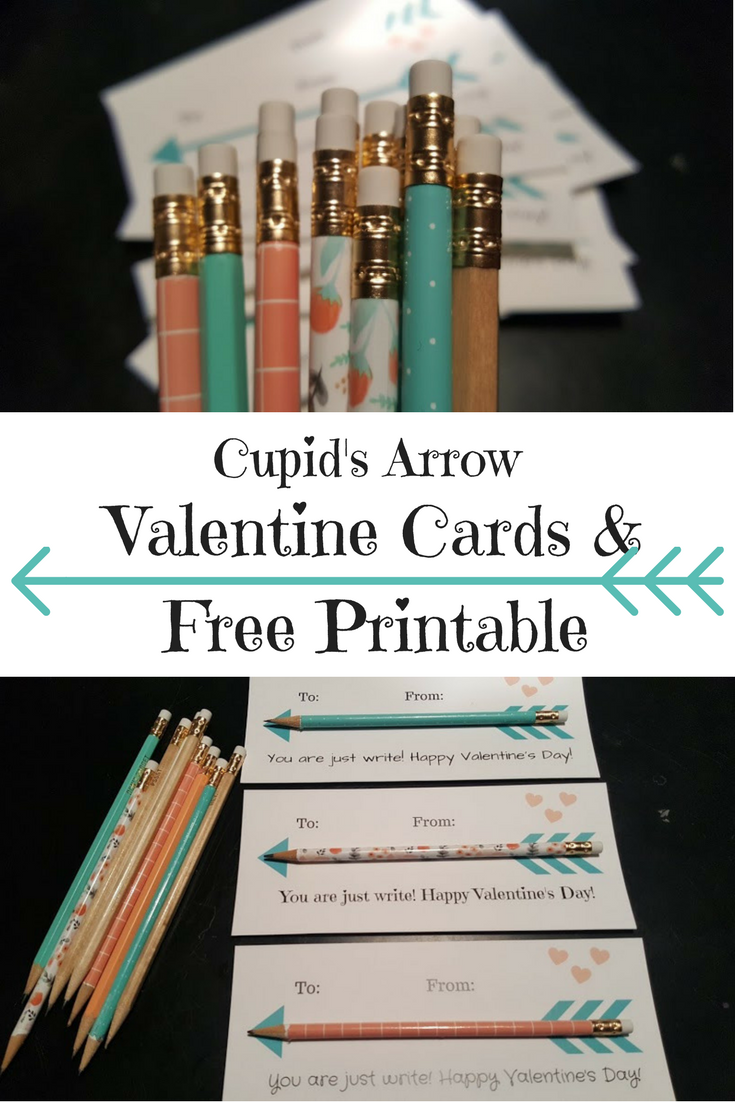 Easy crafts for Valentine's Day include this free printable for Cupid's Arrow Valentine Cards.