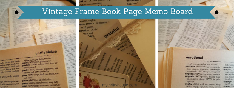 Vintage Frame Book Page Memo Board Made With Dictionary Pages