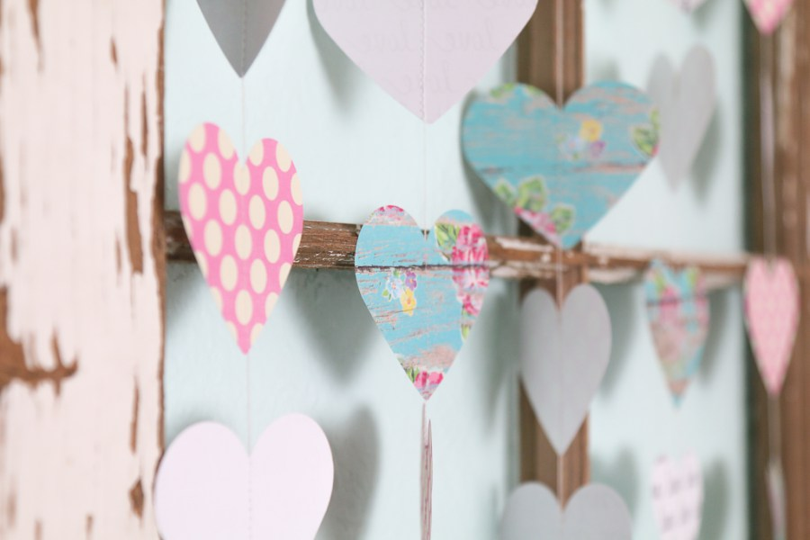 Waste Not Wednesday Week 36 Valentine's Garland Tutorial from A Fresh Squeezed Life
