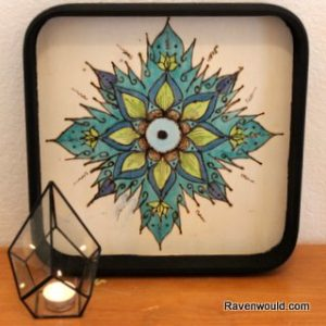 Waste Not Wednesday Week 36 Mandala Burned & Stained Wood Tray from Raven Would