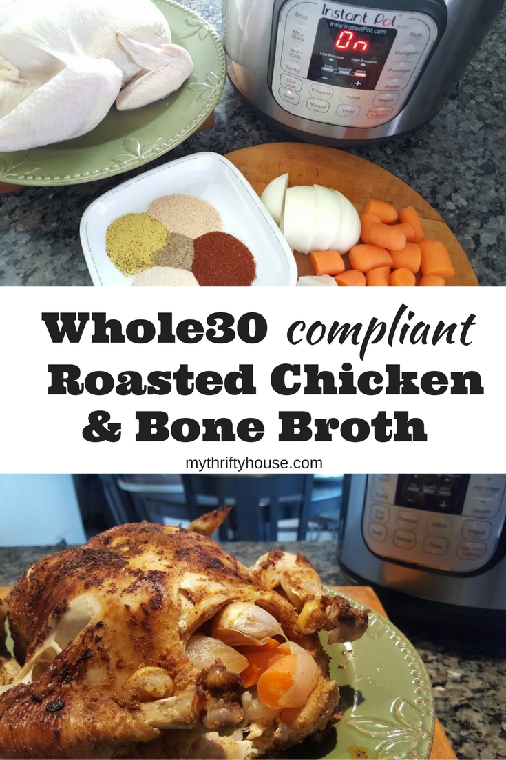 The Instnat Pot makes weekly meal prepping so much easier when making this Whole30 Roasted Chicken for lunches, soups and stews. Then you can make chicken bone broth for cooking during the week.