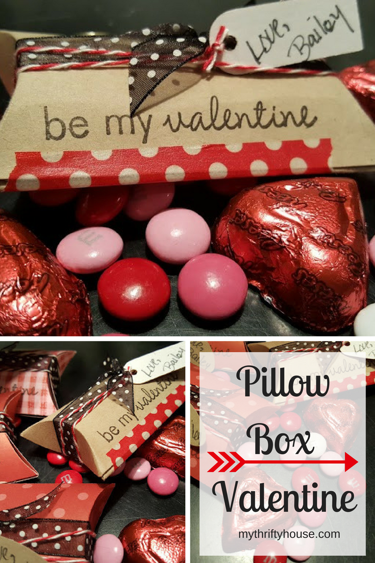 Easy crafts for Valentine's Day include this DIY pillow box valentine filled with candy