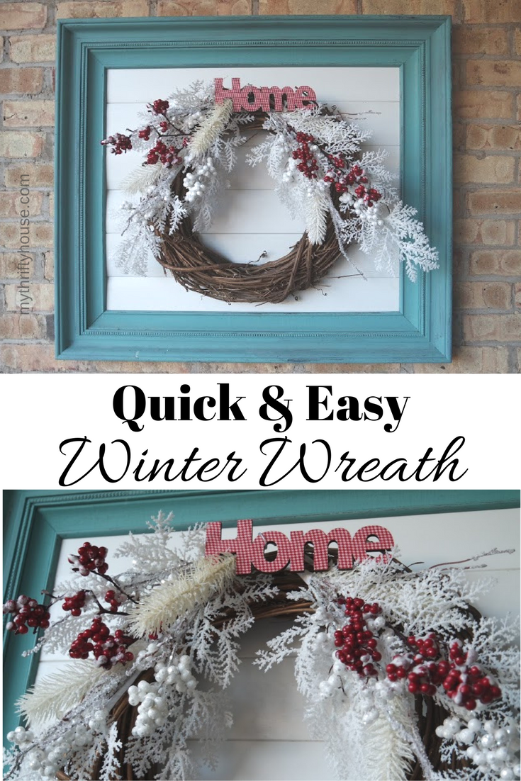 Quick & Easy Winter Wreath from My Thrifty House