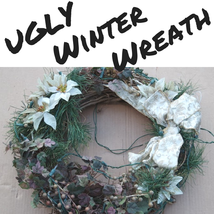 Ugly Winter Wreath Before Picture