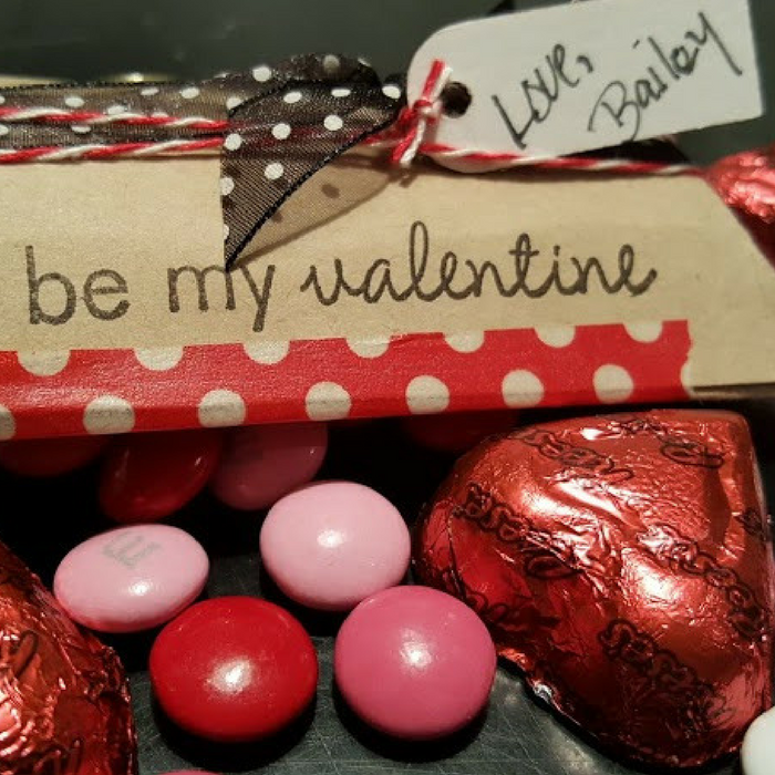 Pillow box valentines sealed with washi tape